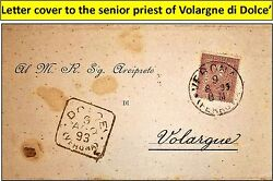 Old Letter Cover To Senior Priest @ Volargne Di Dolce 1893 W/very Nice Stamp 18