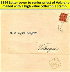 Old Letter 1894 Cover To Senior Priest Volargne Di Dolce With Very Nice Stamp-20