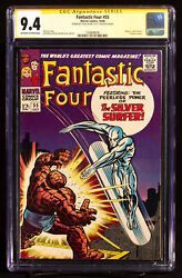 Fantastic Four 55 Cgc 9.4 Near Mint Ss Sig Stan Lee Thing Vs Silver Surfer