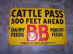 Vintage Bb Dairy Poultry Feeds Seed Cattle Pass Crossing Embossed Metal Sign Ny