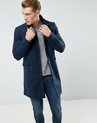 Only And Sons Funnel Neck Overcoat In Texture