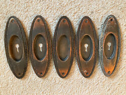 5 Antique Arts And Crafts Door Hardware Back Plate Flashed Japanned Plated Steel