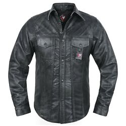 Menand039s Soft Distressed Leather Slim Fit Full Sleeve Button Up Shirt