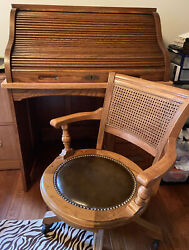 Antique Roll Top Desk Vintage Oak With Matching Cane Leather Swivel Chair