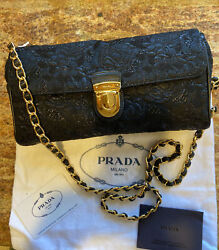 PRADA Black with Gold Evening Chain Clutch Shoulder Bag AUTHENTIC NWT $649.99