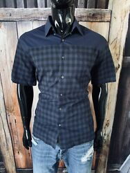 Fred Perry Short Sleeve Dark Blue Check Button Up Shirt Size 44 Large $29.99