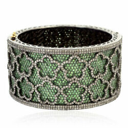 Natural Rose Cut Diamond And Emerald 925 Sterling Silver Bangle Bracelet Jewelry