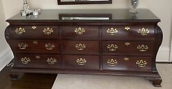 Triple Wooden Dresser By Century With Custom Glass Top.