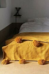 Wool Blanket Mustard Bohemian Bed Cover Handmade knotted Loom Wool Pom Pom
