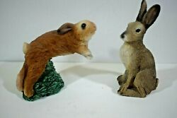 Vintage Stone Critters Resin FIGURINES A HARE amp; A RABBIT f0321