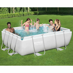 Bestway 9and0393 X 6and0395 X 33 Power Steel Rectangular Swimming Pool Set