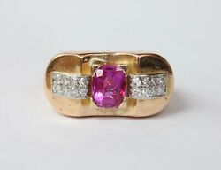 Retro 1940andrsquos Pink Sapphire And Diamond Tank Gold Ring