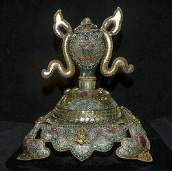14.8 Tibet Silver Wire Gilt Crystal Inlay Gem Conch Shell Trumpet Horn Statue