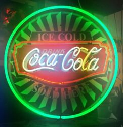 New Drink Cold Coca Cola Neon Light Sign 24x24 Lamp Poster Real Glass