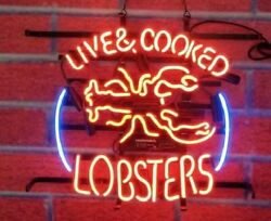 New Live Cooked Lobsters Seafood Neon Sign 24x20 Lamp Poster Real Glass