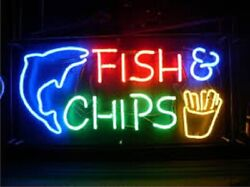 New Fish Cips Neon Light Sign 24x20 Lamp Poster Real Glass Beer Bar