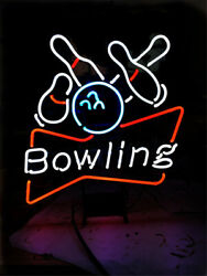 Neon Light Sign 24x20 Bowling Bowlings Open Game Room Glass Decor Bar Lamp