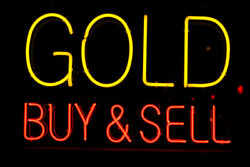 New Gold Buy Sell Open Real Glass Beer Man Cave Neon Light Sign 32x24