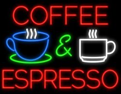 New Coffee And Espresso Beer Man Cave Neon Light Sign 32x24