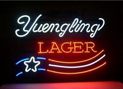 New Yuengling Lager Us America Flag Neon Sign 32x24 Beer Lamp Light