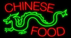 New Chinese Food Dragon Beer Man Cave Neon Light Sign 32x24