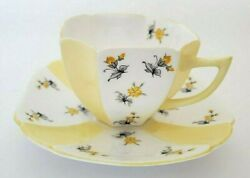 Shelley Countryside Queen Anne White Yellow Panel Flowers Cup And Saucer Rare