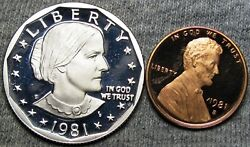 1981-s Type 2 Lot Susas B Anthony And Lincoln Cent Gem Proof++ L@@k ---- L614