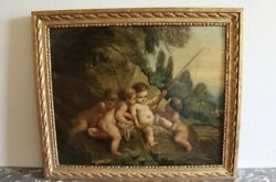 19th Century French Painting Putti After Francois Boucher Fishing Cherubs