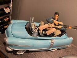 In Box Elvis Presley Collectible Cookie Jar Blue Classic Car