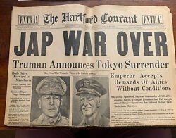 Vintage Wwii August 14, 1945 The Hartford Courant Newspaper