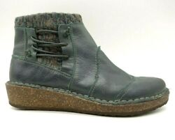 Aetrex Teal Green Leather Knit Zip Up Low Wedge Ankle Boots Women's 36 / 6 - 6.5
