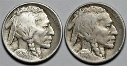 1913-p Types 1 And 2 Buffalo Nickels Us 5c Coins Flat Rate Shipping Lot 213