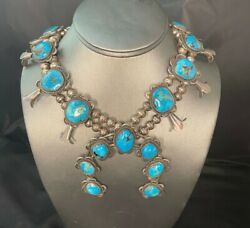 Vintage Sterling Silver Navajo Turquoise Squash Blossom Necklace Wallace Yazzie