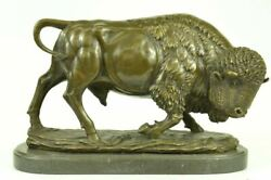 Extra Lrge Barye Bronze Bison Buffalo American Western South West Sculpture Art