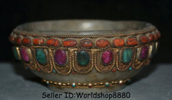 5.2 Rare Old Tibet Nepal Crystal Silver Wire Inlay Red Coral Jewel Bowl Bowls