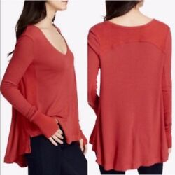 Free People Womens Malibu Thermal Washed Red Long Sleeves Top Xs