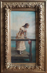 Beautiful Woman On Pier Original Antique 19th C Painting By Ernesto Jolli Italy