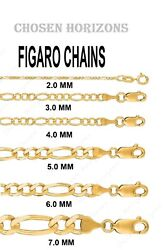 10k Yellow And White Gold Two Tone Figaro Pave Chain Necklace 2 To 7 Mm