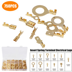 750pc Heavy Duty Electrical Lugs Insert Spring Terminal Insulated Wire Crimp Kit