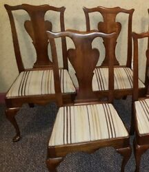 Statton Cherry Queen Anne Dining Room Chairs, Set Of 4, Old Towne Finish