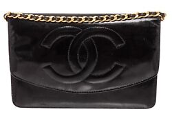 Vintage Black Patent Leather Timeless Woc Wallet On Chain Bag