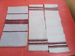 Old Antiques Primitive Hand Wooven Homespun Towels Cotton - Lot Of 3