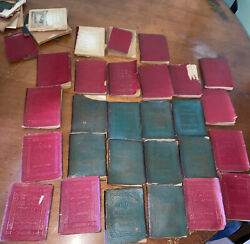 30 Antique Little Leather Library Book Set Lot Green Red Cover As Found