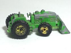 1991 Hot Wheels Green Front Loader Farm Tractor Diecast Toy Car Metal Used