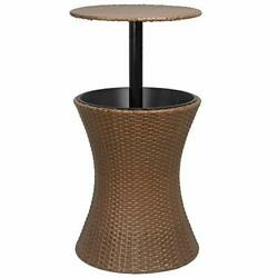 Cool Bar Rattan Style Outdoor Patio Pool Cooler Table Adjustable Height With Ice