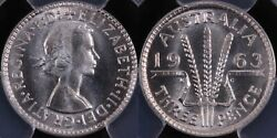 Pcgs Graded Ms67 - Australia 1963 Threepence 3d Superb Gem Uncirculated Coin