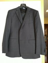 Wool Dark Gray Plaid Suit 44 R Made In Italy Flat Fronted
