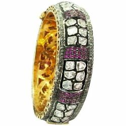 6ct Real Pave Diamond Gemstone Ruby Bangle 14k Gold Sterling Silver Fine Jewelry