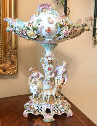 Antique Dresden Centerpiece With Man, Woman And Sheep