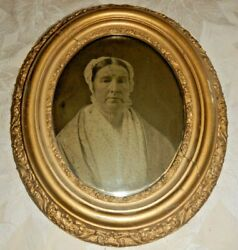 Antique 1800s Gold Oval Picture Frame 14 Ferrotype Tintype Photograph Old Woman
